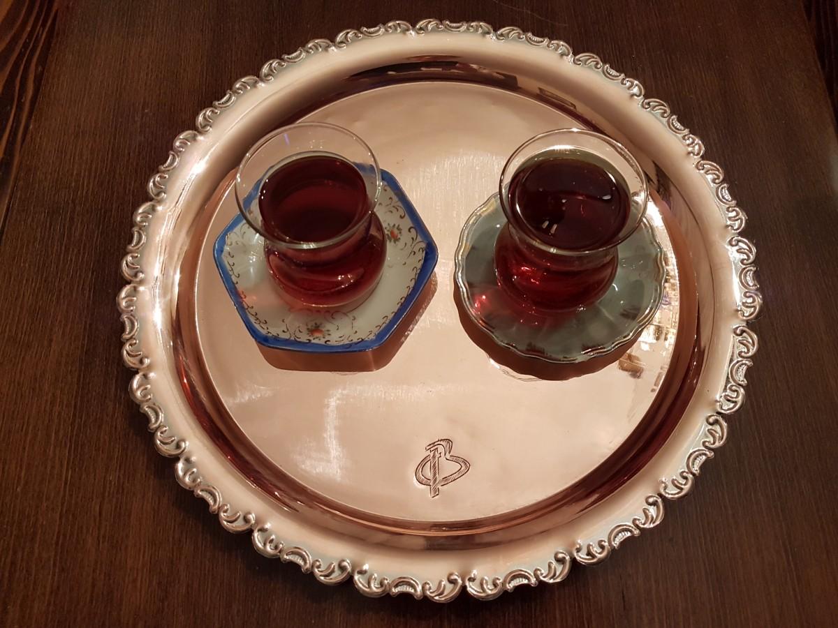 Beg_2264_begüldan Özel Seri R=34 Kırmızı Bakır Çay Tepsisi