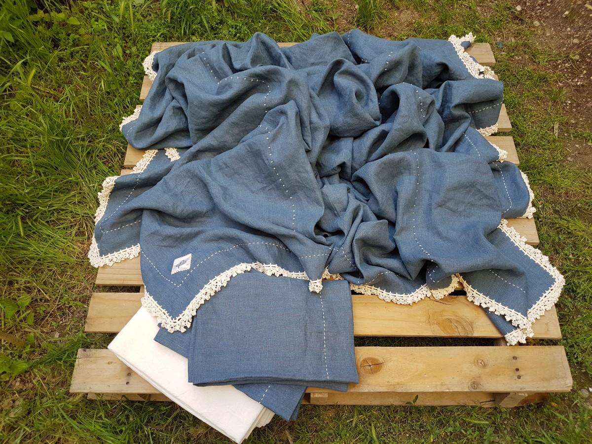 250 X 250 Cm Denim Mavisi Keten Pike_yatak Örtüsü Takımı Beg_2344