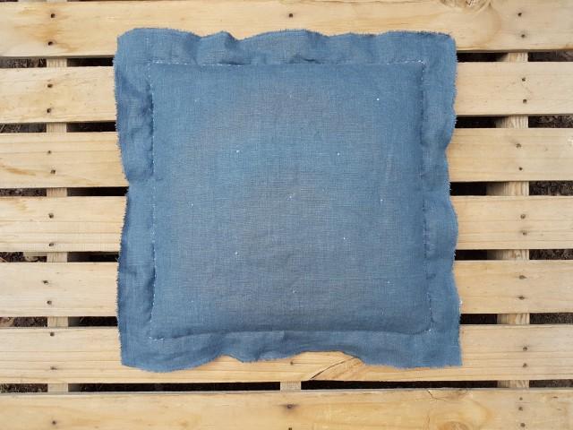 50 X 50 Cm Denim Mavisi Keten Dantel Fırfırlı Şımarık Yastık_beg_2849