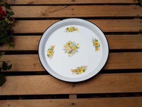 Eski Türk Malı Sarı Çiçekli Çinko Tepsi Beg_2483