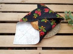 Siyah Kırmızı Çan Çiçekli Bohça Ekmeklik Beg_1430