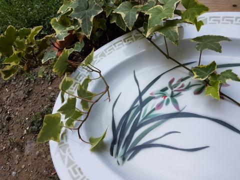 Yeşil Yapraklı Oval Çinko Salata Tabağı Beg_1742
