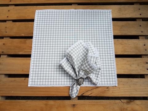 Gri Kareli 50x50 Cm Dantelli Peçete Beg_2105