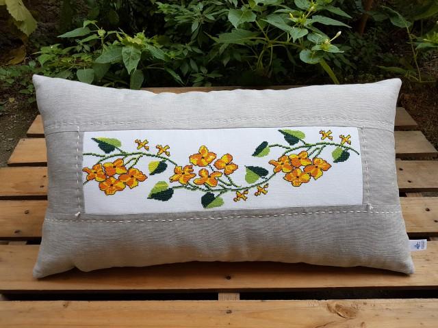 Dörtlü Sarı Çiçek Krem Keten Yastık 38 X 70 Cm Beg_2062
