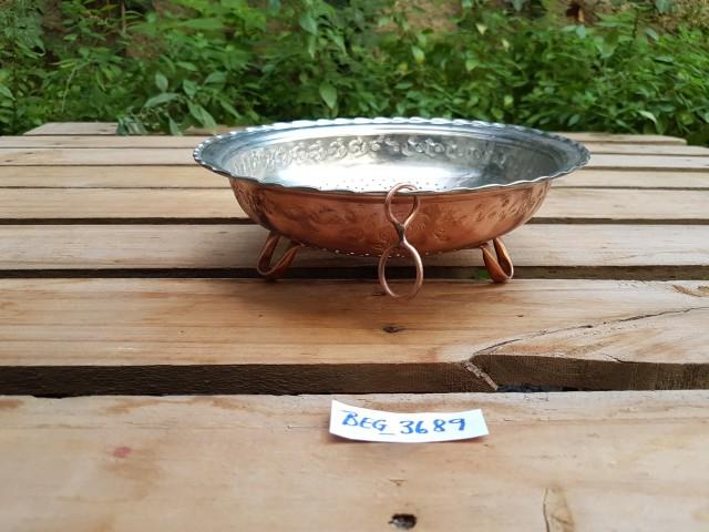 Dövme Bakır Pirinç İlistiri Kevgiri Süzgeci Çap=22 cm BEG_3689