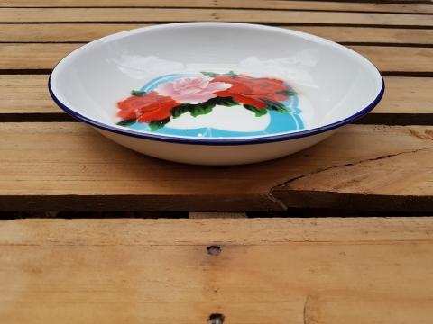 Eski Çinko Üç Güllü Salata Tabağı