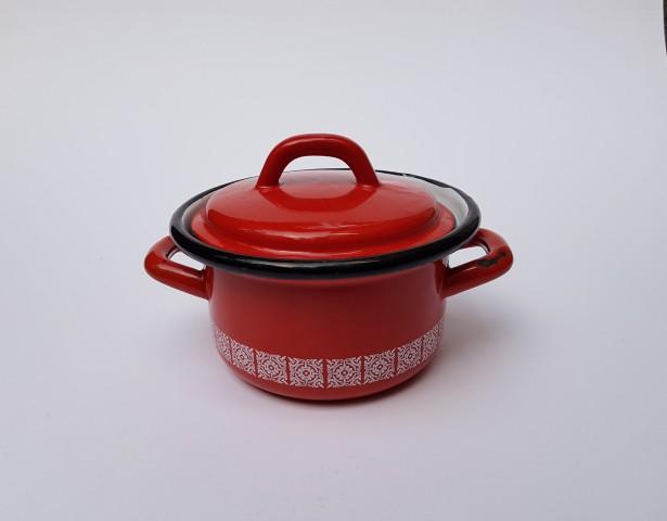 R= 14 Cm Eski Kırmızı Desenli Çinko Tencere_beg_2503