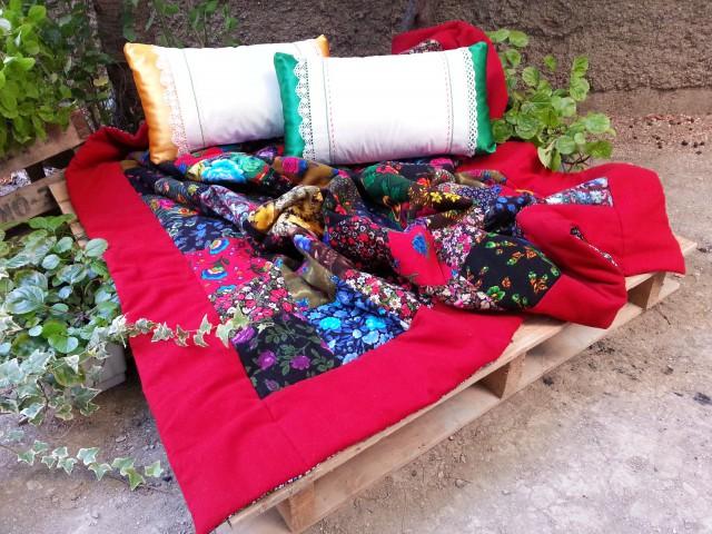 Yeşil-sarı Battaniye- Koltuk Şalı +2 Yastığı_beg_1097